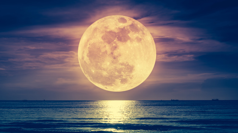A pink and gold full moon rises over the ocean
