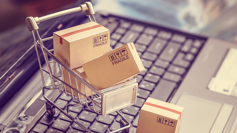 mini shopping cart on keyboard