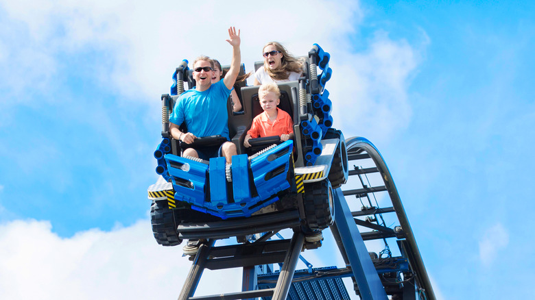 Roller coaster at a theme park