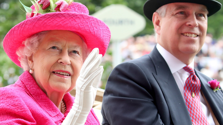 Queen Elizabeth and Prince Andrew smile