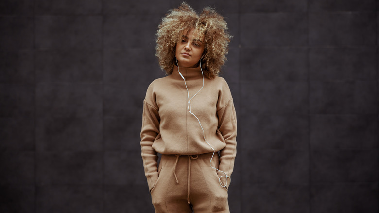 Woman rocking a tracksuit