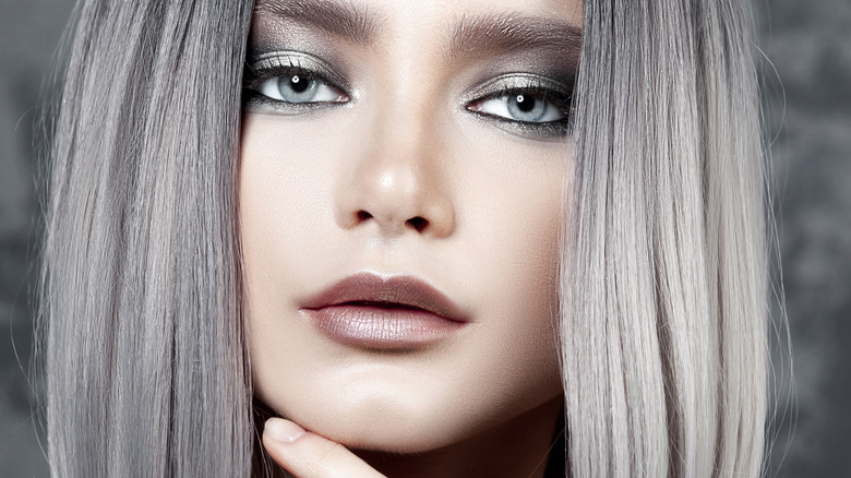 Woman with silver hair