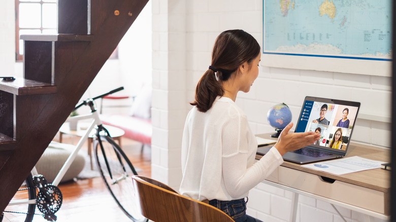 Woman taking videocall from home