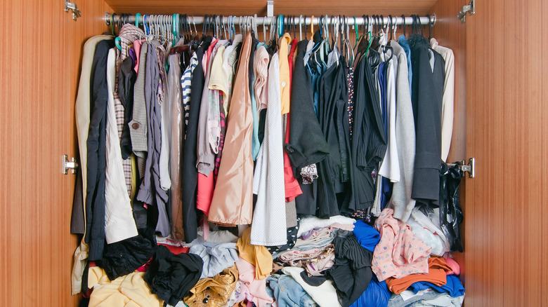Cluttered looking closet