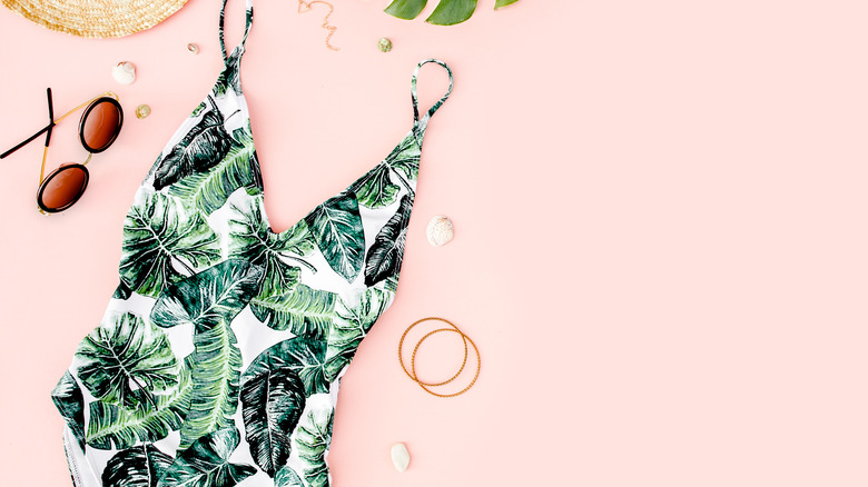 Swimsuit with green leaves