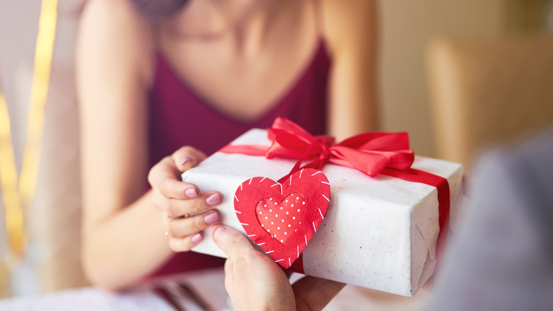 Woman holding Valentine's day gift