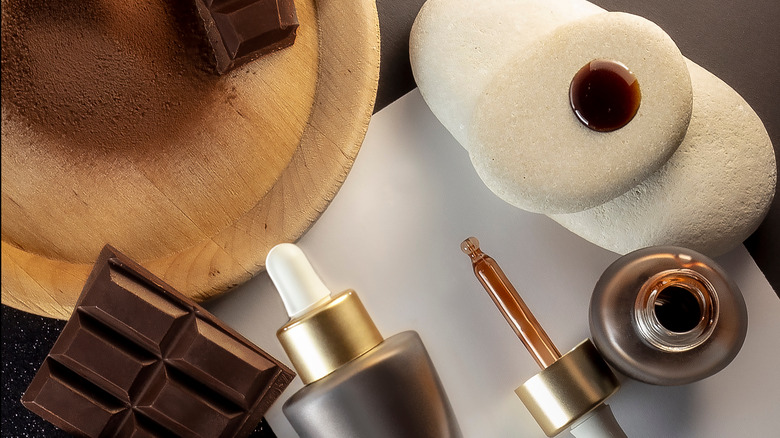 Cocoa powder and chocolate made into a serum. Natural product concept