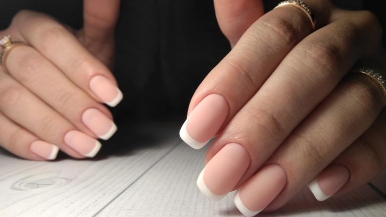 Matte French manicure