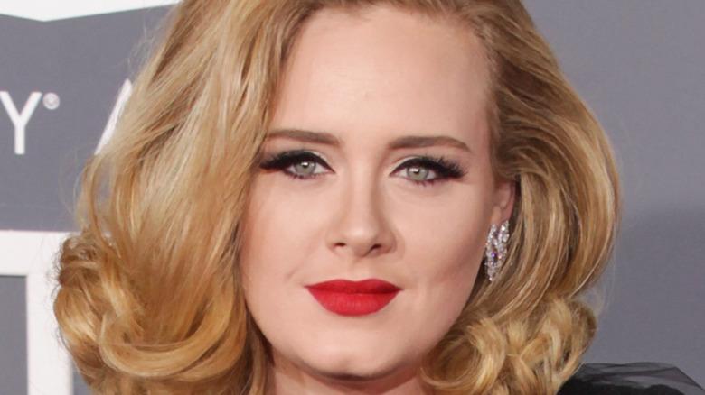 Adele smiling on red carpet
