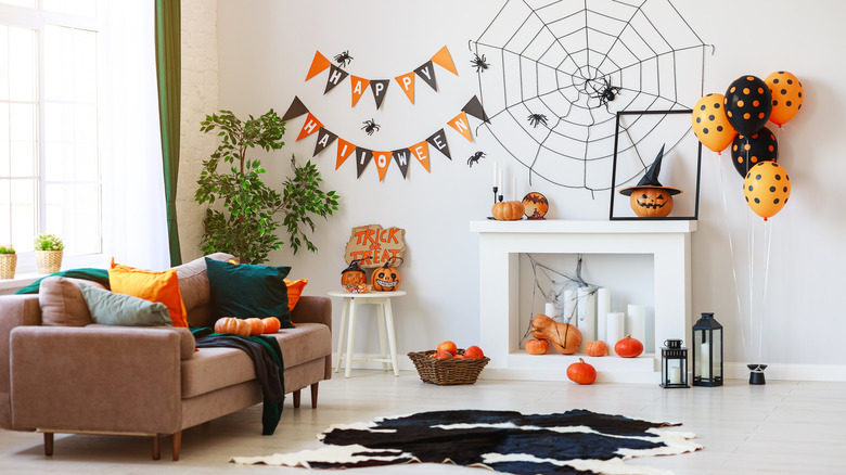 Living room decorated for Halloween