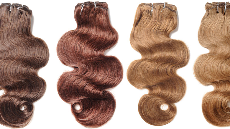 Clip-in hair extensions.