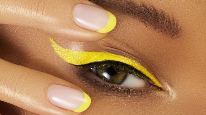 Yellow eyeliner up close