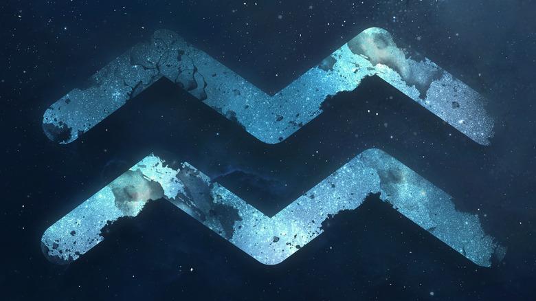 Aquarius symbol in the night sky