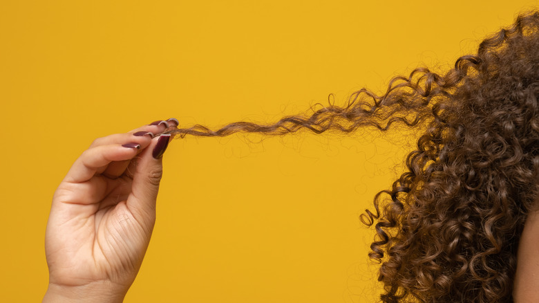 Close-up of woman pulling hair