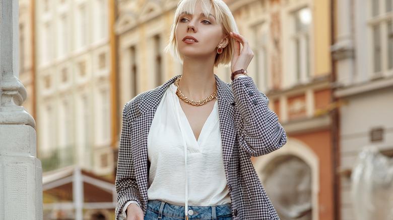 Woman in oversized blazer