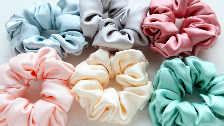 Multiple colorful scrunchies