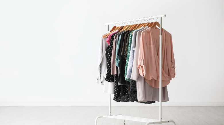 Stylish clothing on hangers with a white background
