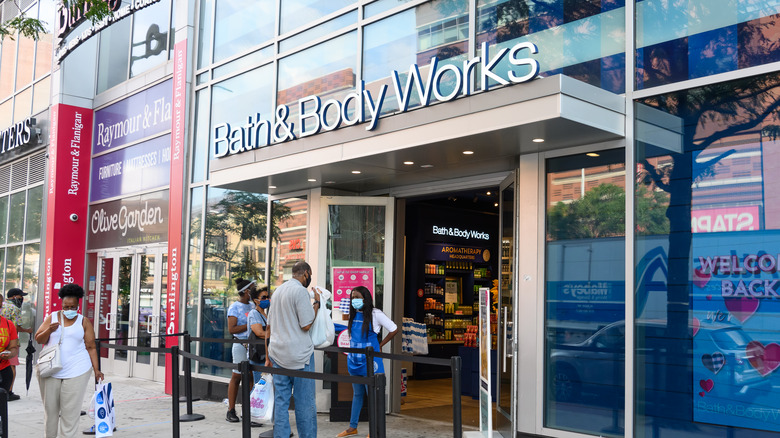 The exterior of a Bath and Body Works store