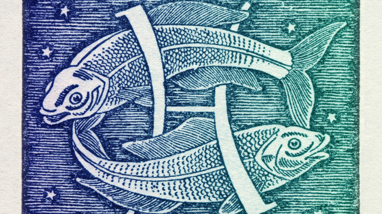Painting of fish and Pisces sign