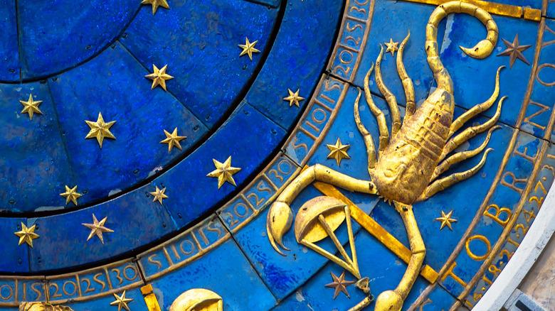 Scorpio on zodiac wheel