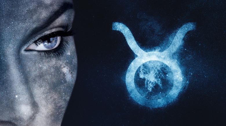 Woman with Taurus zodiac symbol