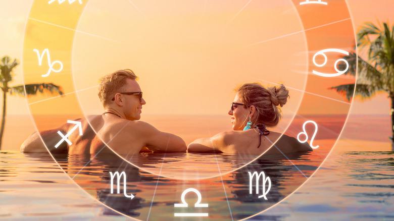 Zodiac chart with couple