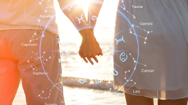 Zodiac chart with couple holding hands