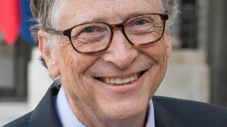Bill Gates smiling for cameras