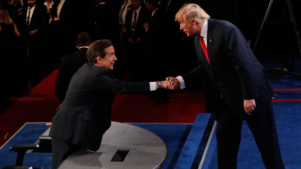 Donald Trump shakes Chris Wallace's hand