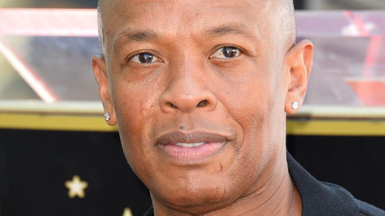 Dr. Dre posing for press
