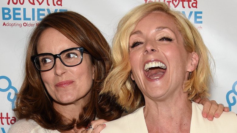 Jane Krakowski laughs with Tina Fey at her side.
