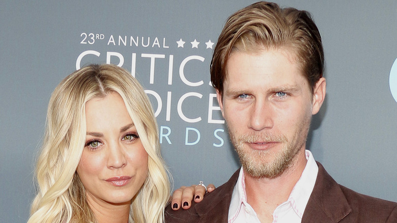 Kaley Cuoco and Karl Cook pose on the red carpet together