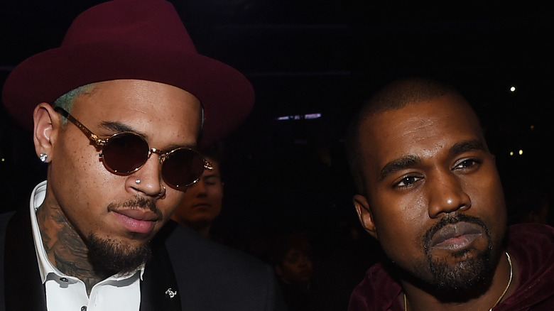 Chris Brown and Kanye West pose together