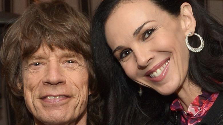 Mick Jagger & L'Wren Scott smiling