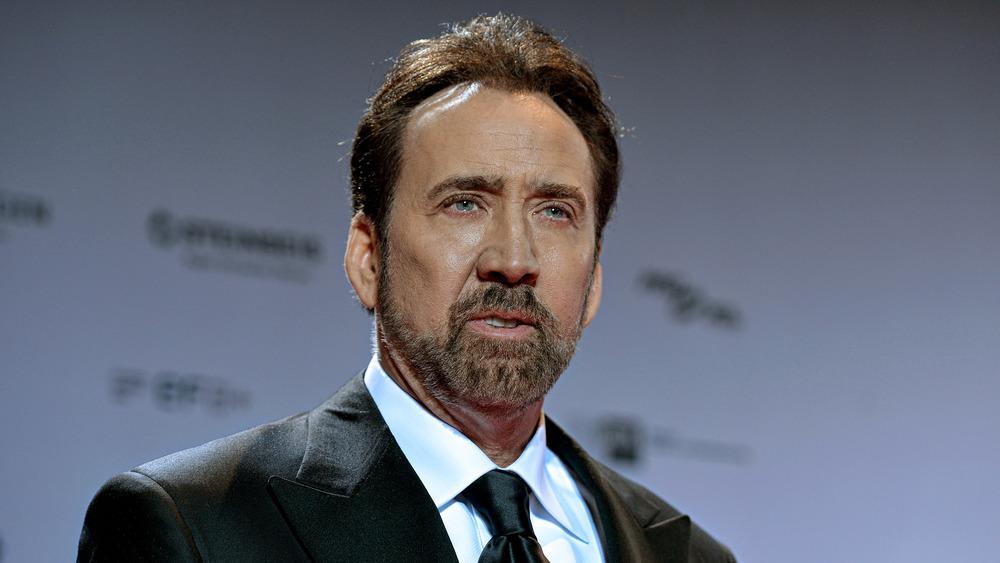 Actor Nicolas Cage looks serious