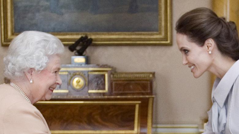 Angelina Jolie with Queen Elizabeth