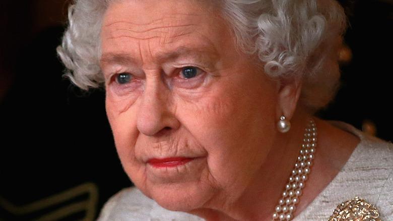 Queen Elizabeth looking serious