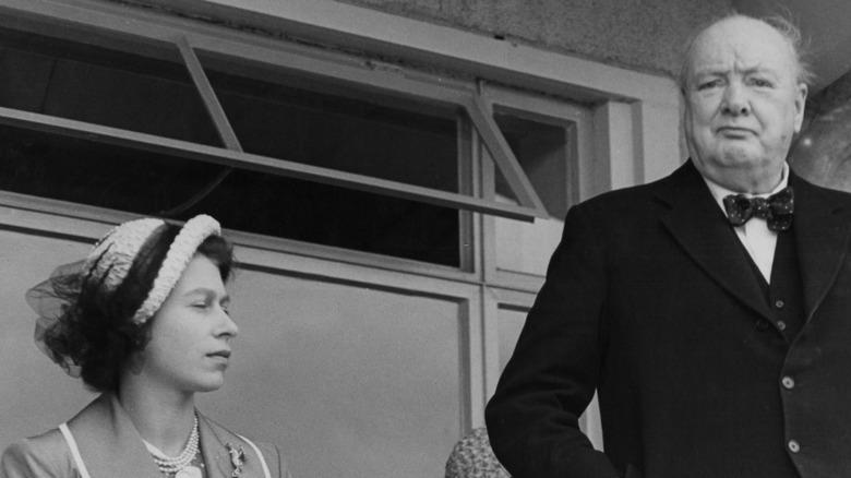 Winston Churchill and Princess Elizabeth vintage photo