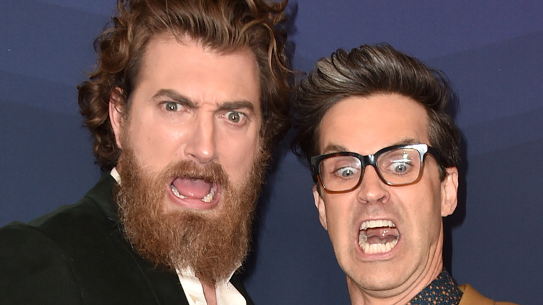Rhett McLaughlin and Link Neal making silly faces