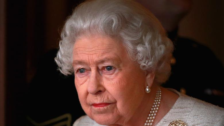 Queen Elizabeth against a shadow background