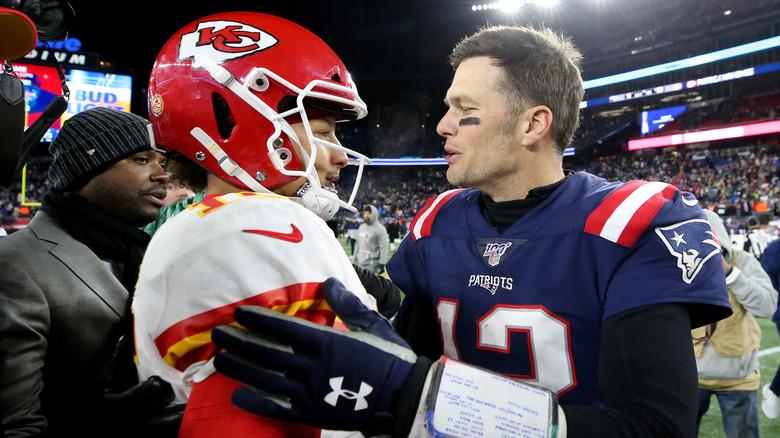Brady and Mahomes at mid-field