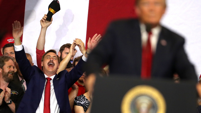 Mike Lindell cheering Donald Trump