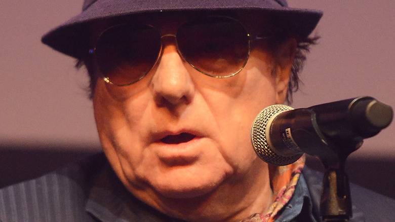Van Morrison with a microphone