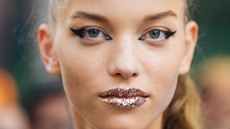 Model with glittery lips