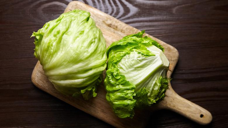 Iceberg lettuce on a wooden board
