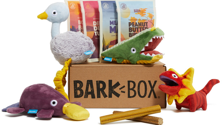 BarkBox pictured with treats and toy dinosaurs