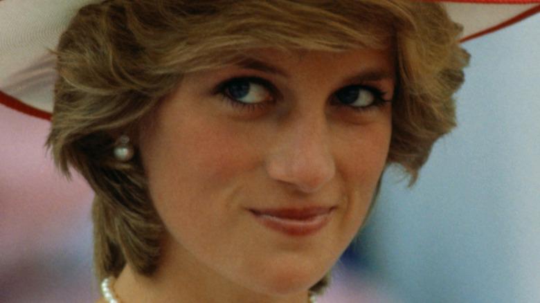 Princess Diana looking coy