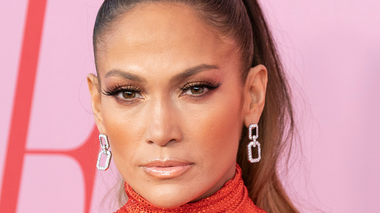 Jennifer Lopez looking serious at event