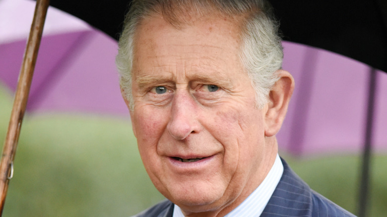 Prince Charles holds an umbrella on a rainy day.