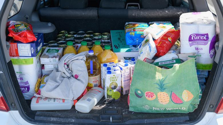Car trunk full of supplies